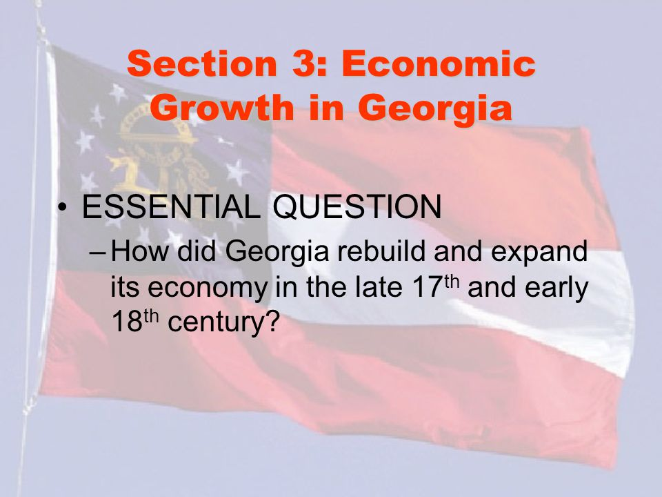 Section 3: Economic Growth in Georgia What words do I need to know.