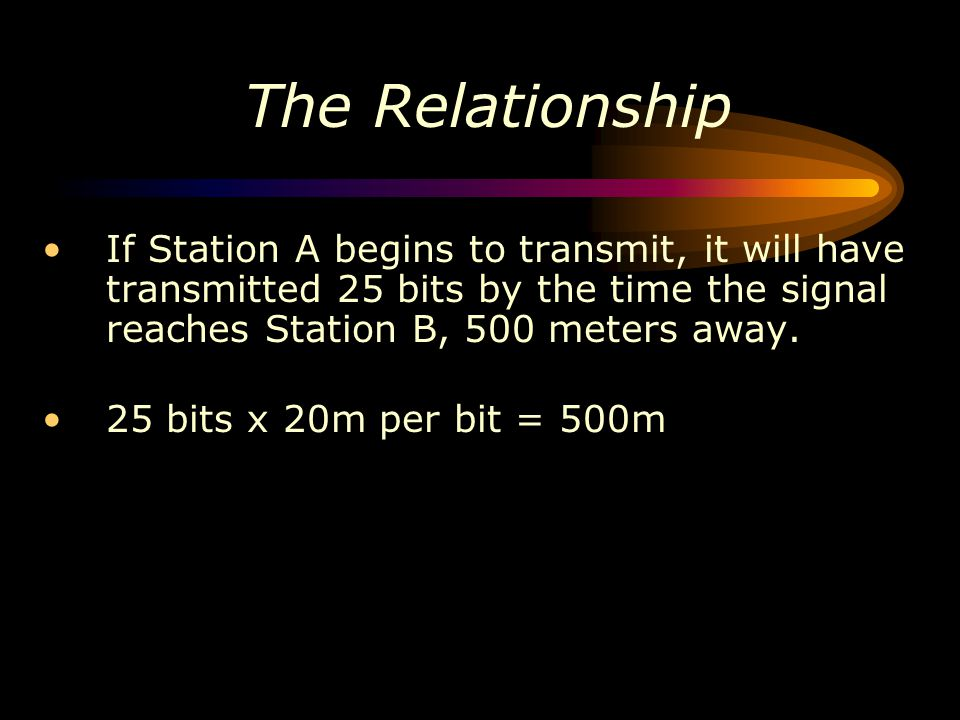 The Relationship If Station A begins to transmit, it will have transmitted 25 bits by the time the signal reaches Station B, 500 meters away. 25 bits