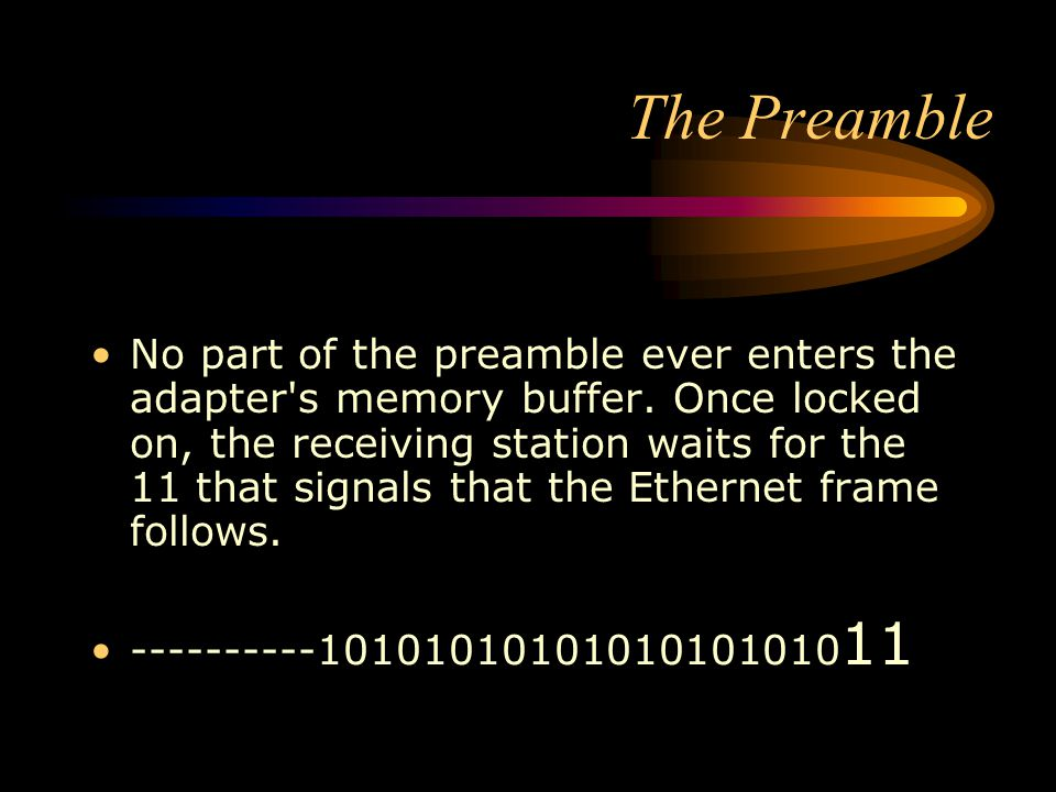 The Preamble No part of the preamble ever enters the adapter's memory buffer. Once locked on, the receiving station waits for the 11 that signals that