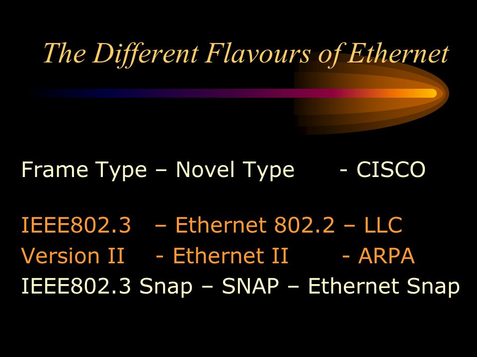The Different Flavours of Ethernet Frame Type – Novel Type - CISCO IEEE802.3 – Ethernet 802.2 – LLC Version II - Ethernet II - ARPA IEEE802.3 Snap – S