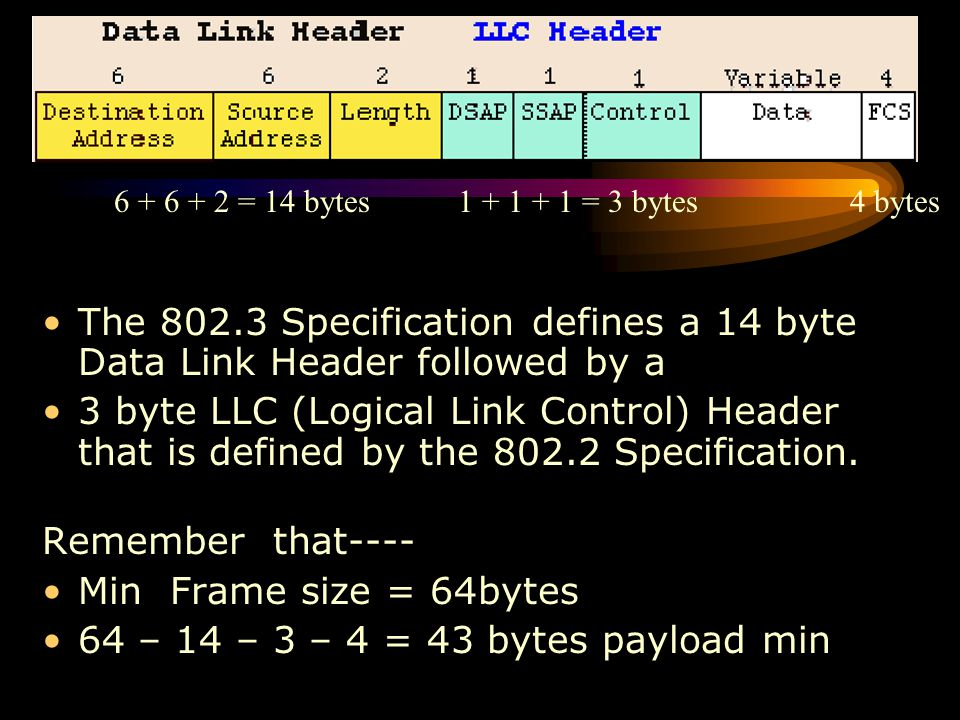 The Different Flavours of Ethernet The 802.3 Specification defines a 14 byte Data Link Header followed by a 3 byte LLC (Logical Link Control) Header t