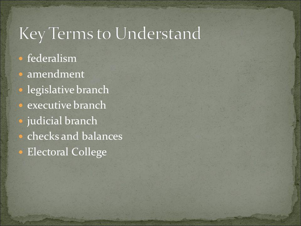 federalism amendment legislative branch executive branch judicial branch checks and balances Electoral College