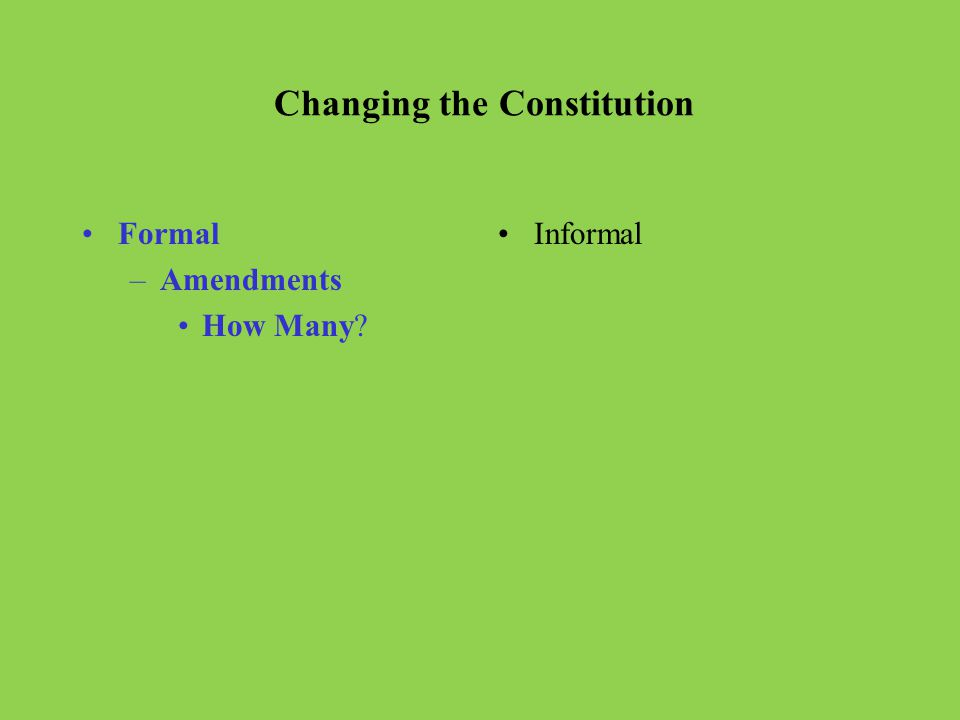 Articles Briefly describe each of the Articles in the Constitution. I. II. III. IV. V. VI. VII.