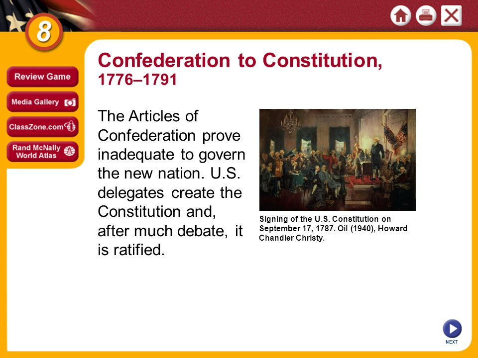 Signing of the U.S. Constitution on September 17, 1787.
