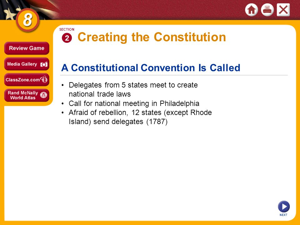 A Constitutional Convention Is Called NEXT 2 SECTION Delegates from 5 states meet to create national trade laws Call for national meeting in Philadelphia Creating the Constitution Afraid of rebellion, 12 states (except Rhode Island) send delegates (1787)
