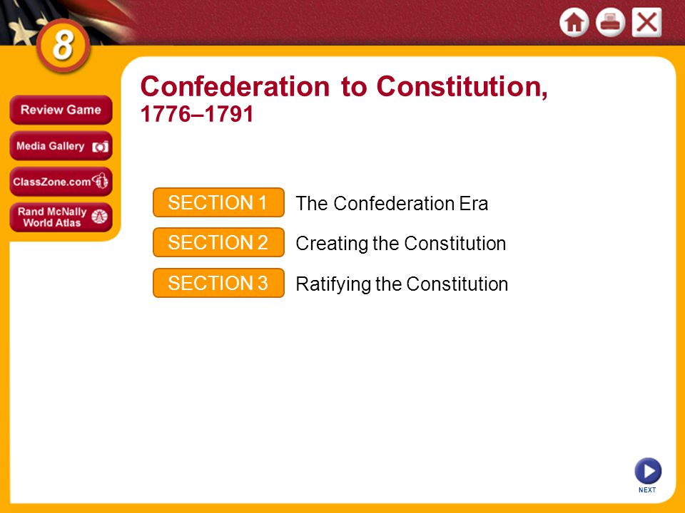 NEXT SECTION 1 SECTION 2 SECTION 3 The Confederation Era Creating the Constitution Ratifying the Constitution Confederation to Constitution, 1776–1791