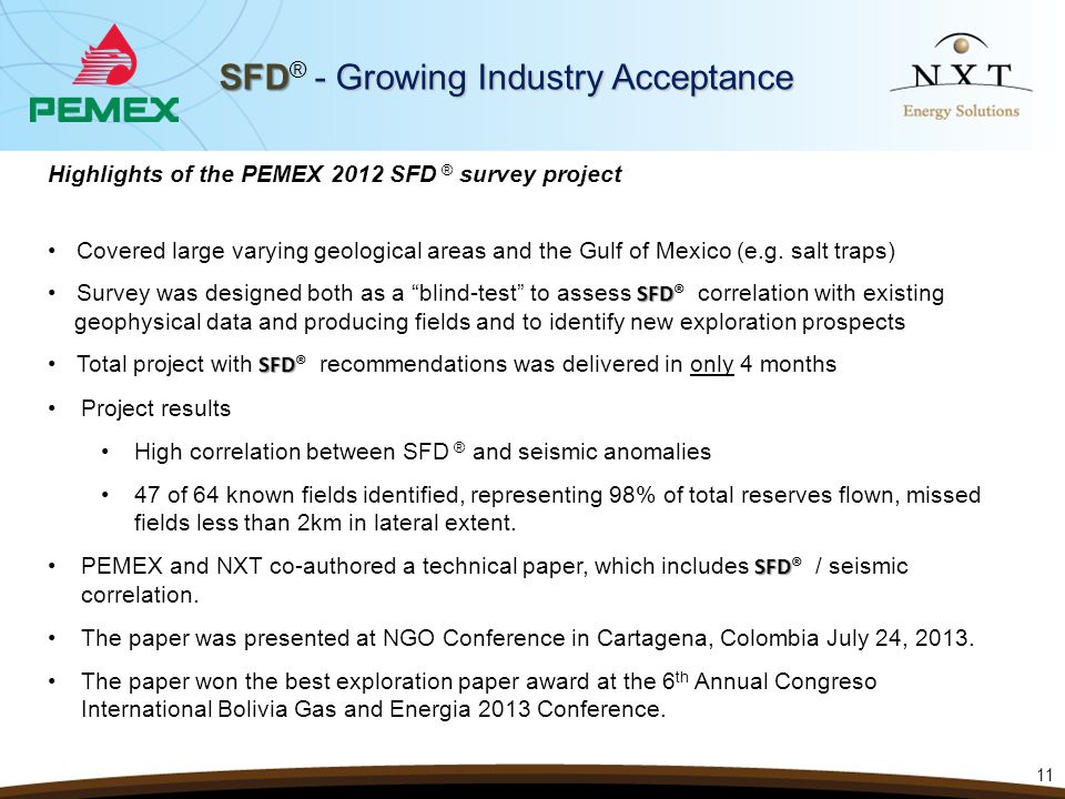 SFD - Growing Industry Acceptance SFD ® - Growing Industry Acceptance 11 Highlights of the PEMEX 2012 SFD ® survey project Covered large varying geolo