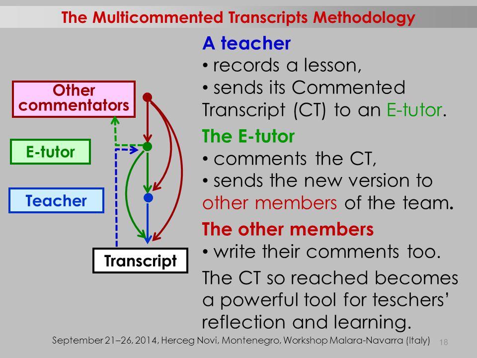 Transcript Other commentators Teacher E-tutor A teacher records a lesson, sends its Commented Transcript (CT) to an E-tutor.