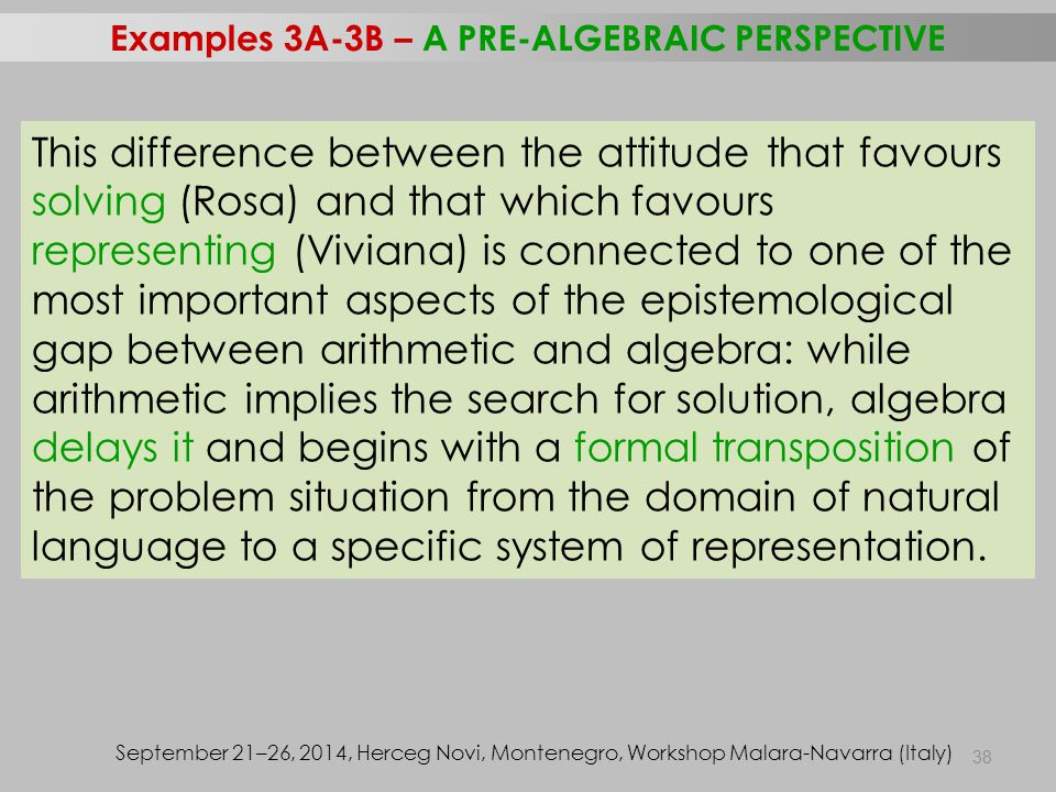 38 Examples 3A-3B – A PRE-ALGEBRAIC PERSPECTIVE September 21–26, 2014, Herceg Novi, Montenegro, Workshop Malara-Navarra (Italy) This difference betwee