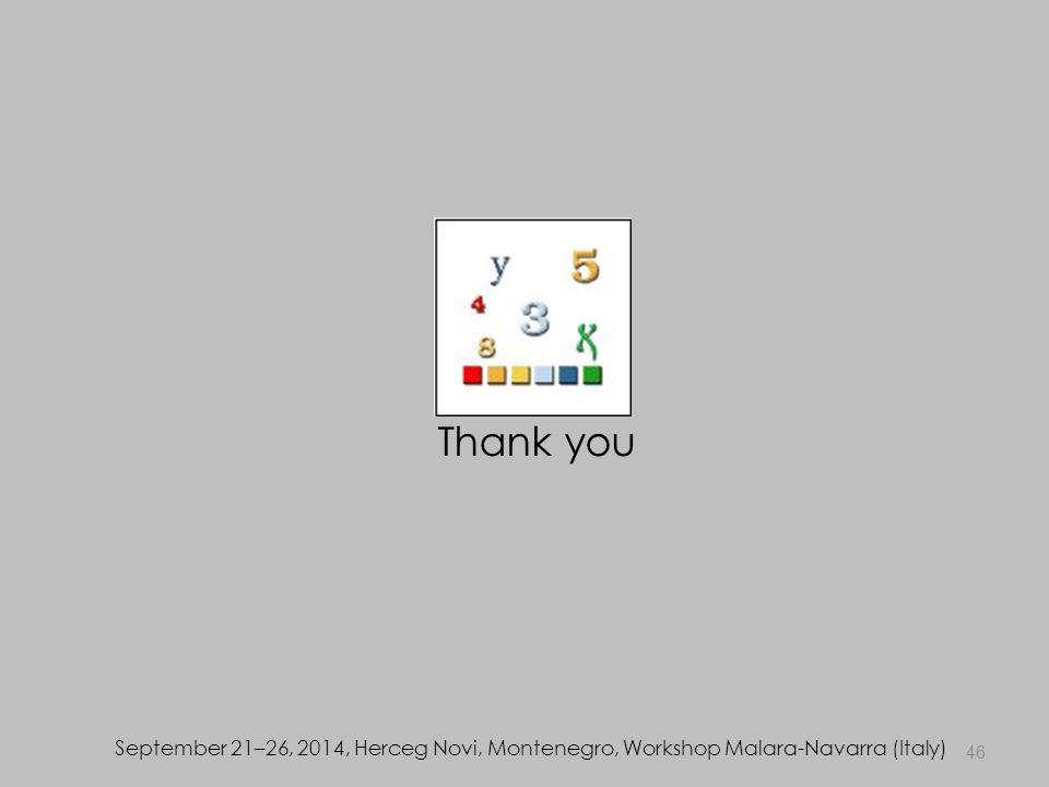 46 September 21–26, 2014, Herceg Novi, Montenegro, Workshop Malara-Navarra (Italy) Thank you