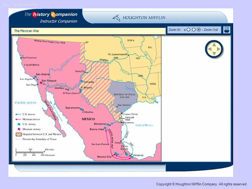 Map: The Mexican War Copyright © Houghton Mifflin Company. All rights reserved.