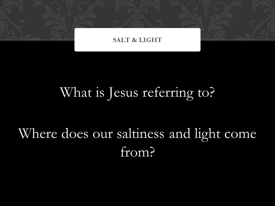 What is Jesus referring to Where does our saltiness and light come from SALT & LIGHT