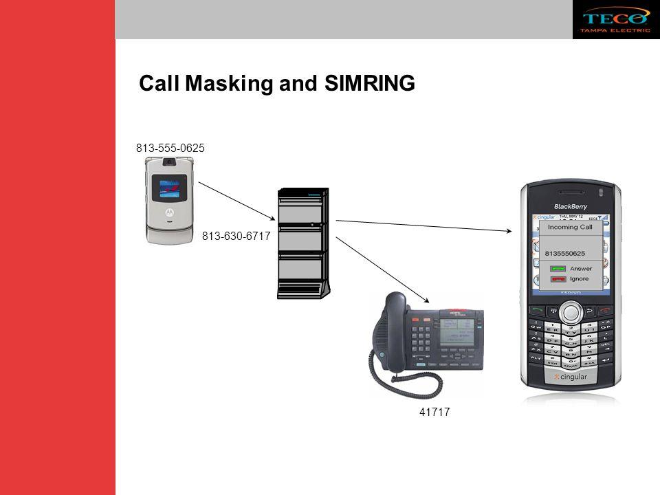 Call Masking and SIMRING 813-555-0625 813-630-6717 41717