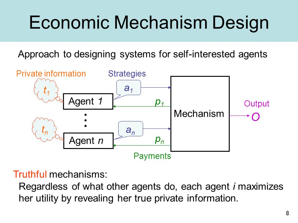 8 Economic Mechanism Design Approach to designing systems for self-interested agents Truthful mechanisms: Regardless of what other agents do, each agent i maximizes her utility by revealing her true private information.
