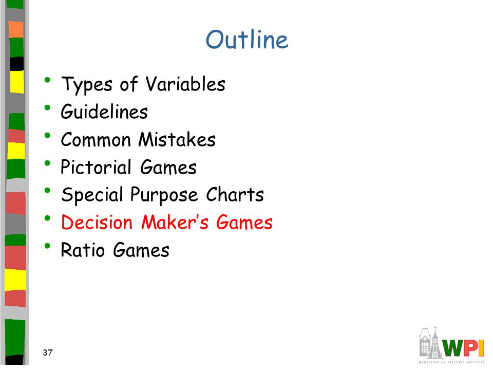 37 Outline Types of Variables Guidelines Common Mistakes Pictorial Games Special Purpose Charts Decision Maker's Games Ratio Games
