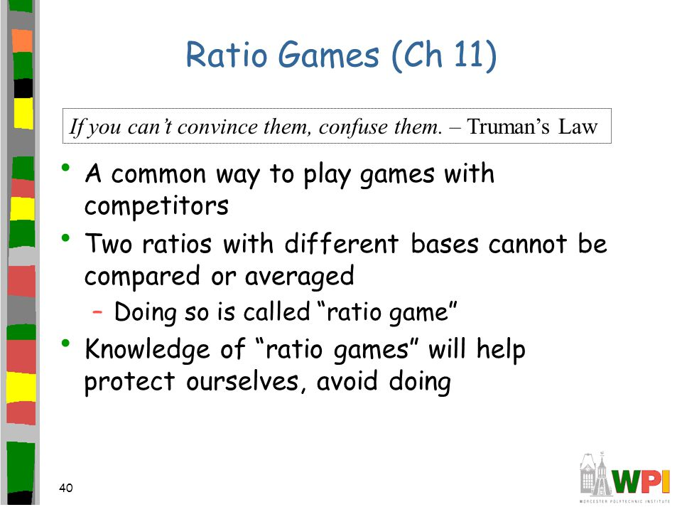 40 Ratio Games (Ch 11) A common way to play games with competitors Two ratios with different bases cannot be compared or averaged –Doing so is called