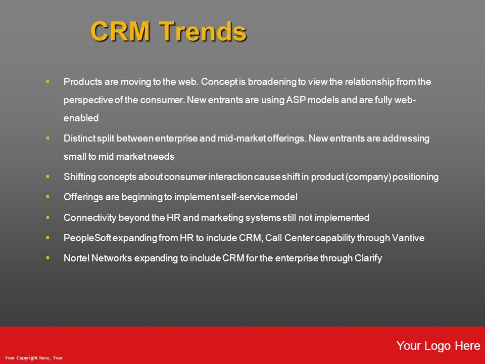 Your Logo Here Your Copyright here, Year CRM Trends  Products are moving to the web.