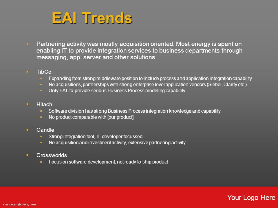 Your Logo Here Your Copyright here, Year EAI Trends  Partnering activity was mostly acquisition oriented.