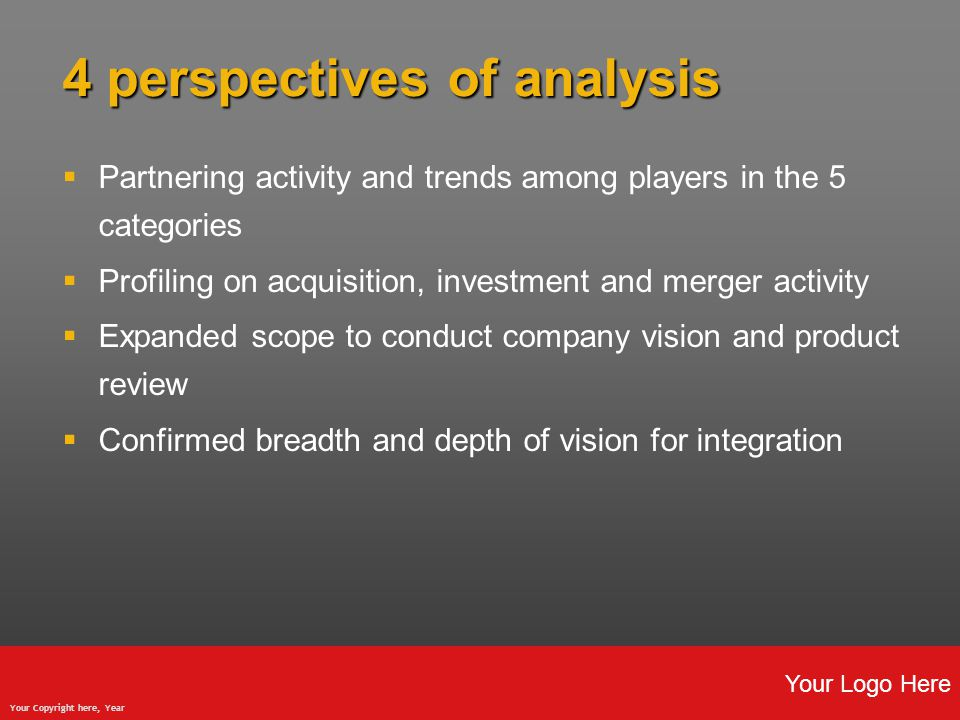 Your Logo Here Your Copyright here, Year 4 perspectives of analysis  Partnering activity and trends among players in the 5 categories  Profiling on acquisition, investment and merger activity  Expanded scope to conduct company vision and product review  Confirmed breadth and depth of vision for integration