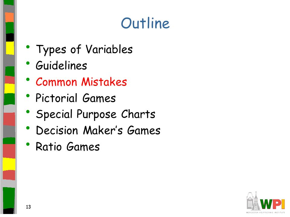 13 Outline Types of Variables Guidelines Common Mistakes Pictorial Games Special Purpose Charts Decision Maker's Games Ratio Games
