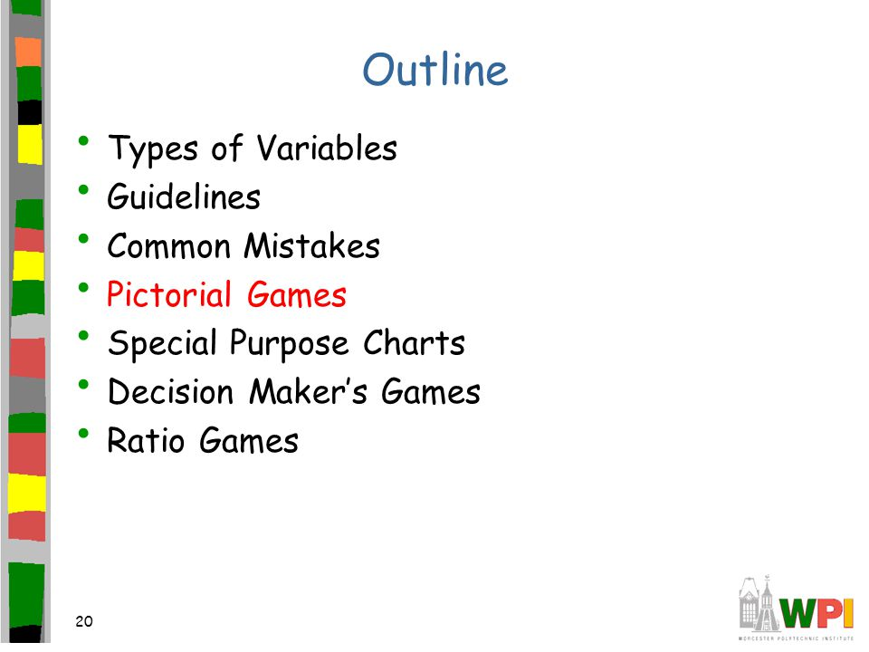 20 Outline Types of Variables Guidelines Common Mistakes Pictorial Games Special Purpose Charts Decision Maker's Games Ratio Games