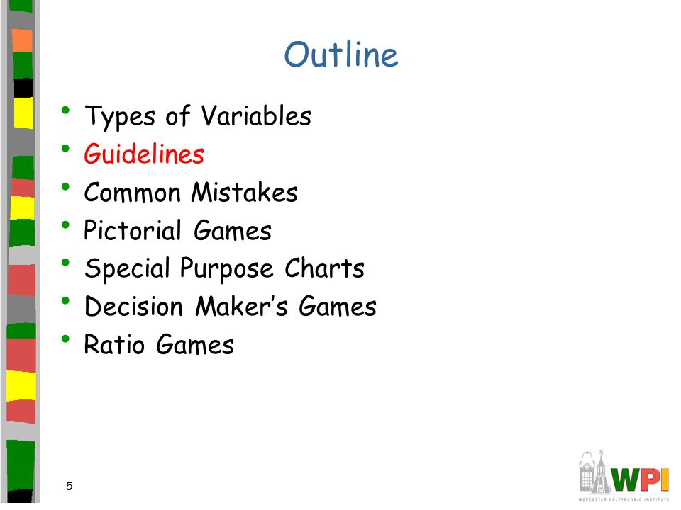 5 Outline Types of Variables Guidelines Common Mistakes Pictorial Games Special Purpose Charts Decision Maker's Games Ratio Games