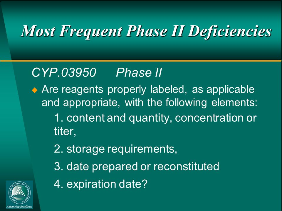 Most Frequent Phase II Deficiencies CYP.03950Phase II  Are reagents properly labeled, as applicable and appropriate, with the following elements: 1.
