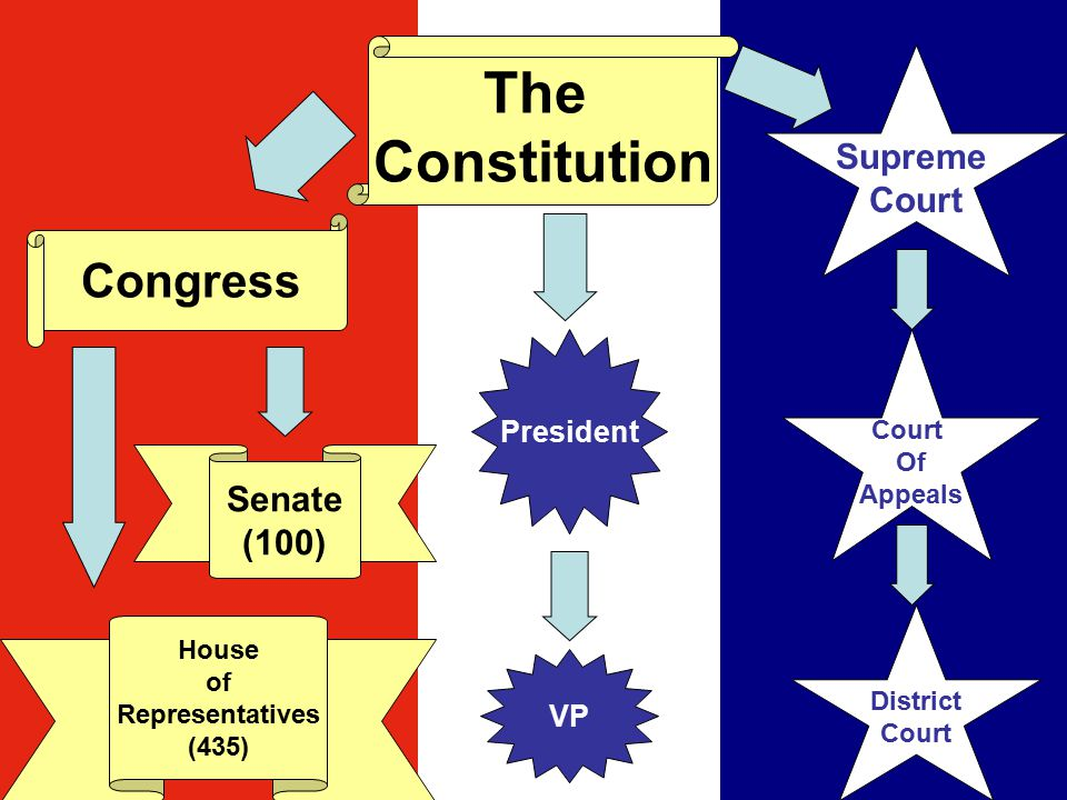 The Constitution Congress House of Representatives (435) Senate (100) Supreme Court Of Appeals District Court President VP