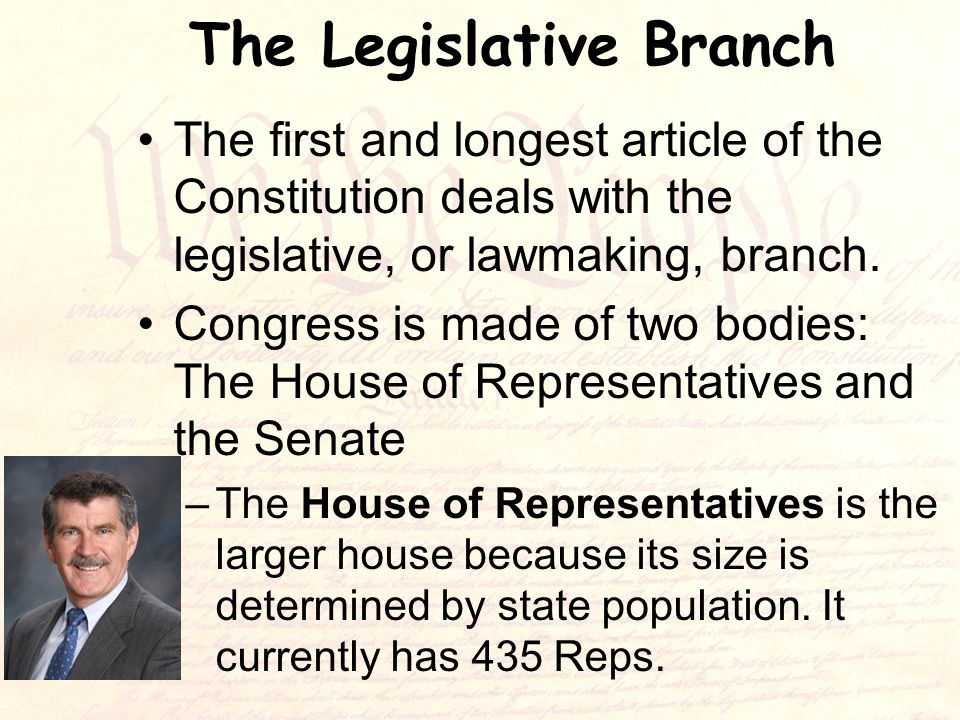 The Legislative Branch The first and longest article of the Constitution deals with the legislative, or lawmaking, branch.