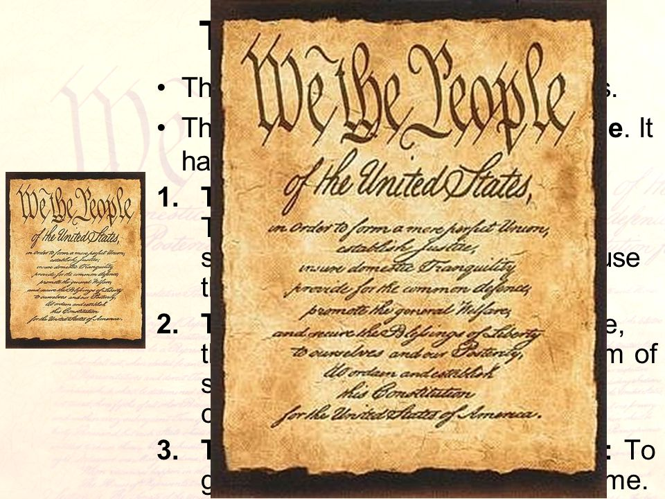 The Preamble The Constitution is split into 3 parts.
