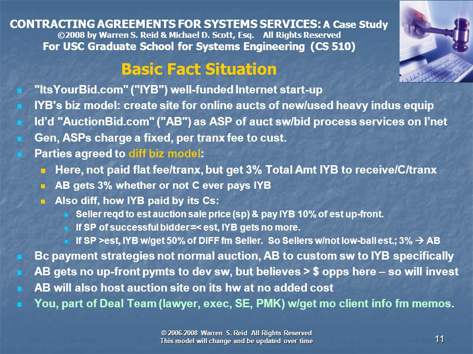 © 2006-2008 Warren S. Reid All Rights Reserved This model will change and be updated over time 11 CONTRACTING AGREEMENTS FOR SYSTEMS SERVICES: A Case