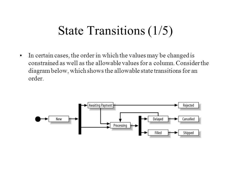 State Transitions (1/5) In certain cases, the order in which the values may be changed is constrained as well as the allowable values for a column. Co