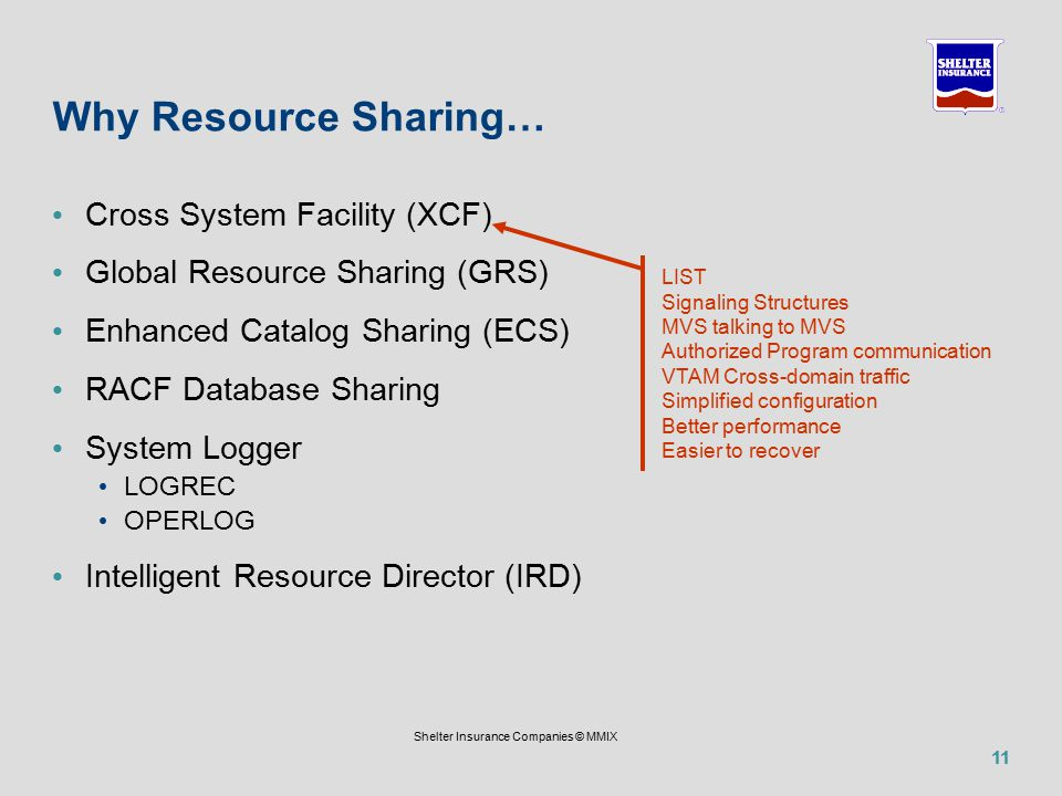 11 Shelter Insurance Companies © MMIX Why Resource Sharing… Cross System Facility (XCF) Global Resource Sharing (GRS) Enhanced Catalog Sharing (ECS) RACF Database Sharing System Logger LOGREC OPERLOG Intelligent Resource Director (IRD) LIST Signaling Structures MVS talking to MVS Authorized Program communication VTAM Cross-domain traffic Simplified configuration Better performance Easier to recover