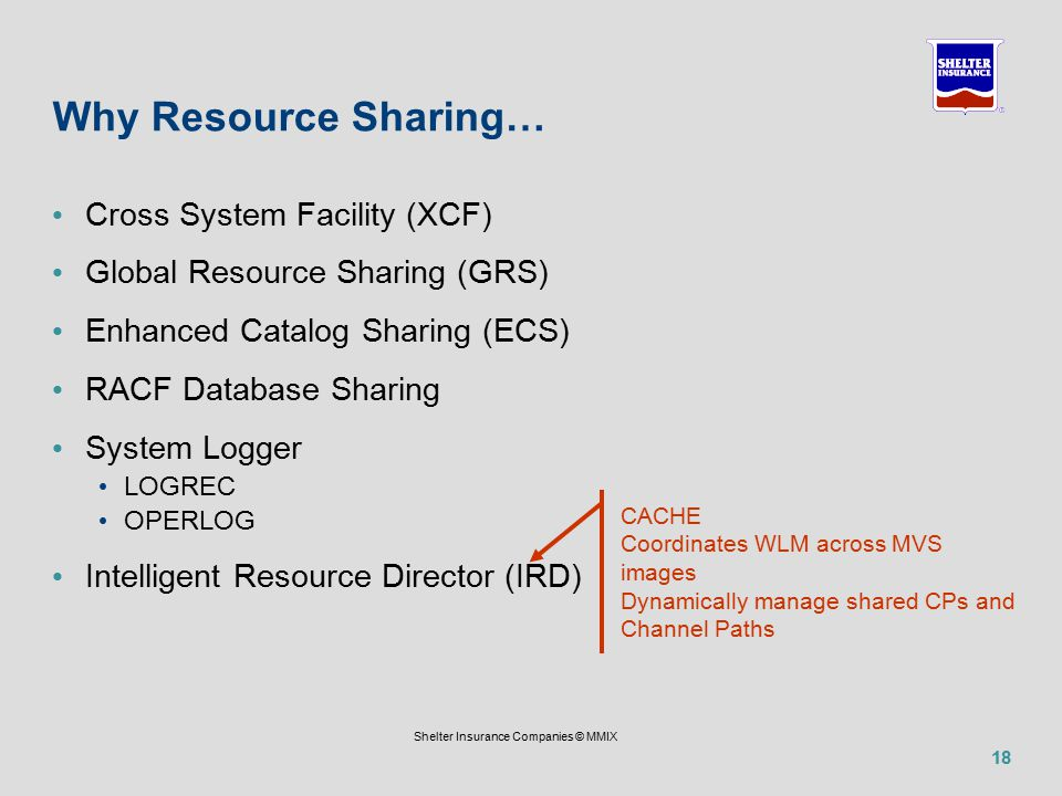 18 Shelter Insurance Companies © MMIX Why Resource Sharing… Cross System Facility (XCF) Global Resource Sharing (GRS) Enhanced Catalog Sharing (ECS) RACF Database Sharing System Logger LOGREC OPERLOG Intelligent Resource Director (IRD) CACHE Coordinates WLM across MVS images Dynamically manage shared CPs and Channel Paths