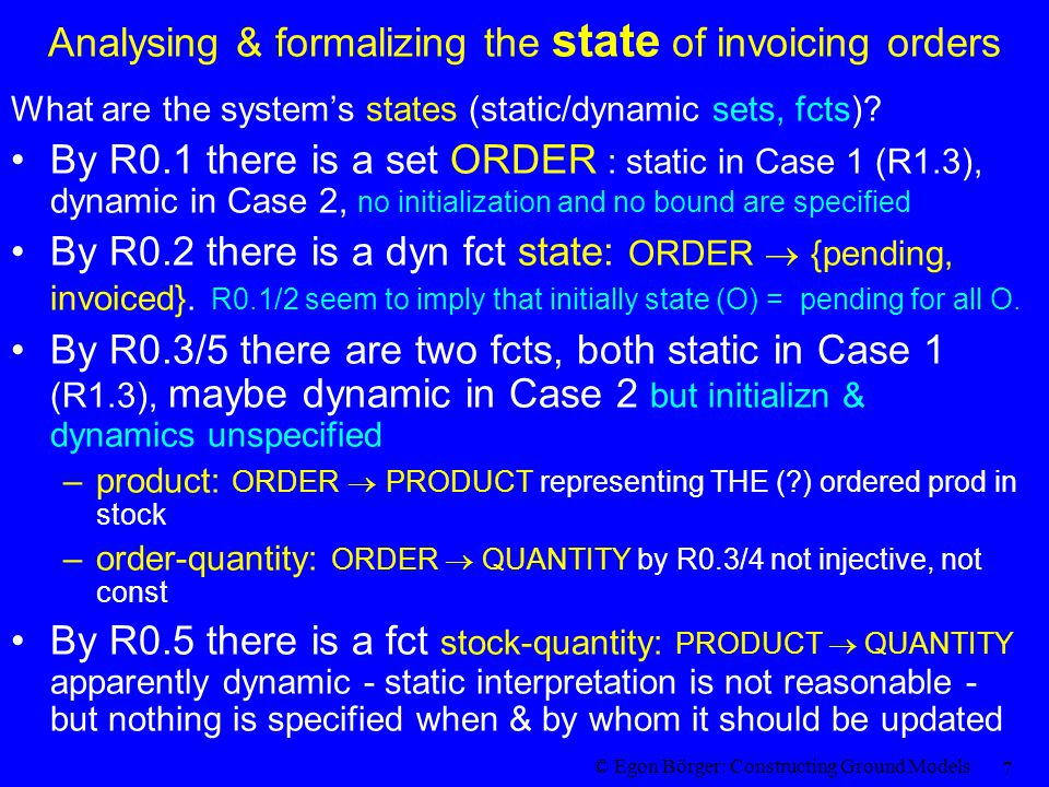 © Egon Börger: Constructing Ground Models 7 Analysing & formalizing the state of invoicing orders What are the system's states (static/dynamic sets, fcts).