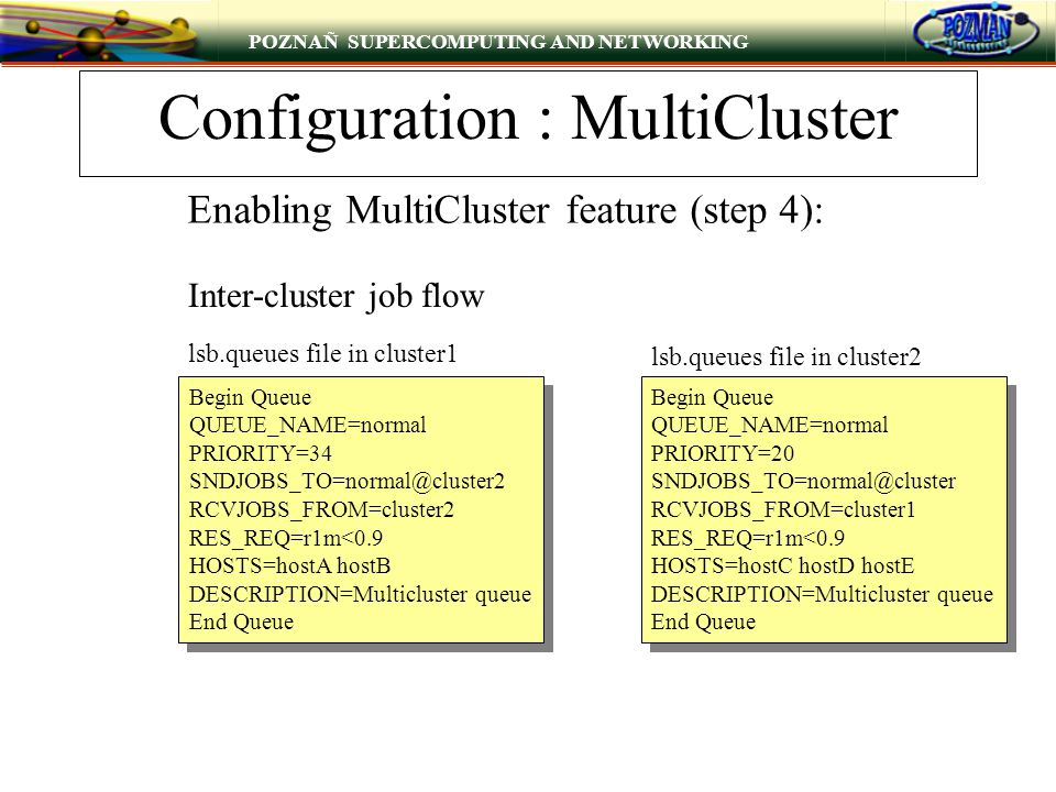 POZNAÑ SUPERCOMPUTING AND NETWORKING Configuration : MultiCluster Begin Queue QUEUE_NAME=normal PRIORITY=34 SNDJOBS_TO=normal@cluster2 RCVJOBS_FROM=cl