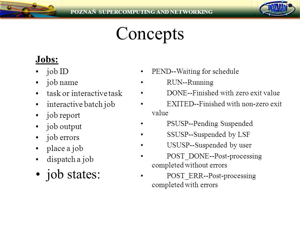 POZNAÑ SUPERCOMPUTING AND NETWORKING Concepts Jobs: job ID job name task or interactive task interactive batch job job report job output job errors pl