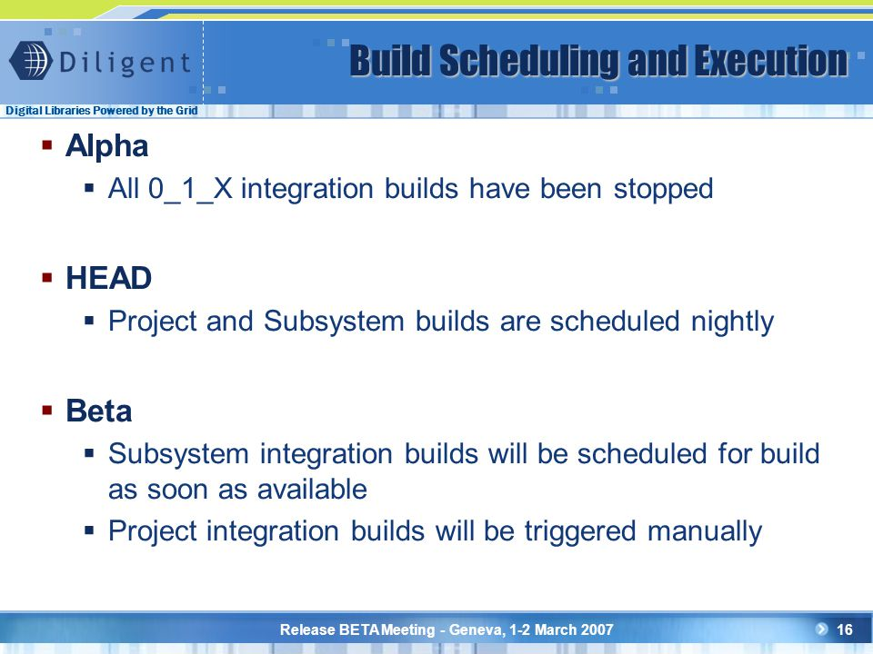 Digital Libraries Powered by the Grid Release BETA Meeting - Geneva, 1-2 March 200716 Build Scheduling and Execution  Alpha  All 0_1_X integration builds have been stopped  HEAD  Project and Subsystem builds are scheduled nightly  Beta  Subsystem integration builds will be scheduled for build as soon as available  Project integration builds will be triggered manually