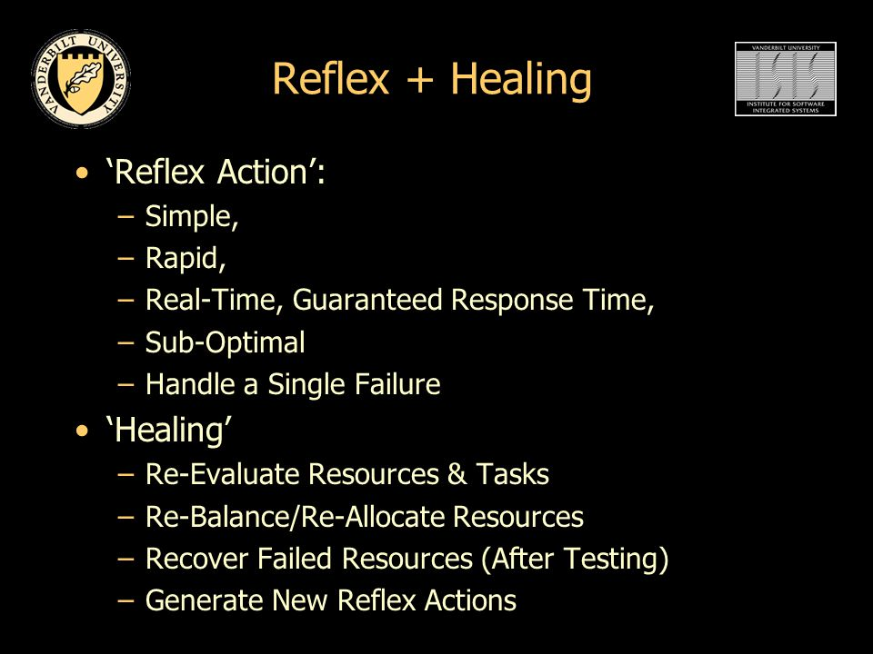 Reflex + Healing 'Reflex Action': –Simple, –Rapid, –Real-Time, Guaranteed Response Time, –Sub-Optimal –Handle a Single Failure 'Healing' –Re-Evaluate Resources & Tasks –Re-Balance/Re-Allocate Resources –Recover Failed Resources (After Testing) –Generate New Reflex Actions