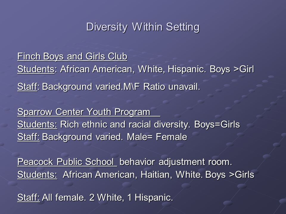 Diversity Within Setting Finch Boys and Girls Club Students: African American, White, Hispanic.