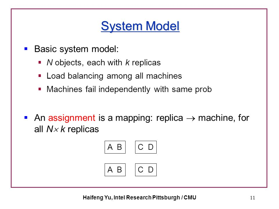 Haifeng Yu, Intel Research Pittsburgh / CMU11 System Model  Basic system model:  N objects, each with k replicas  Load balancing among all machines