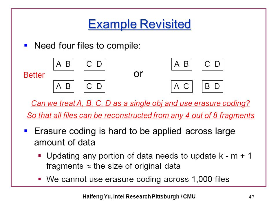Haifeng Yu, Intel Research Pittsburgh / CMU47 Example Revisited  Need four files to compile: A BC D A BC D or A BC D A CB D Better  Erasure coding i