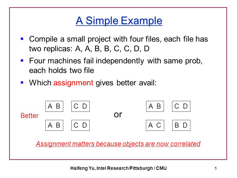 Haifeng Yu, Intel Research Pittsburgh / CMU5 A Simple Example  Compile a small project with four files, each file has two replicas: A, A, B, B, C, C,