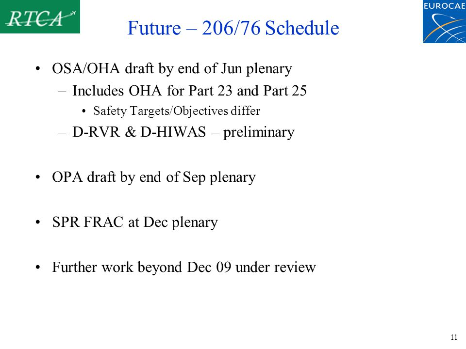 11 Future – 206/76 Schedule OSA/OHA draft by end of Jun plenary –Includes OHA for Part 23 and Part 25 Safety Targets/Objectives differ –D-RVR & D-HIWAS – preliminary OPA draft by end of Sep plenary SPR FRAC at Dec plenary Further work beyond Dec 09 under review