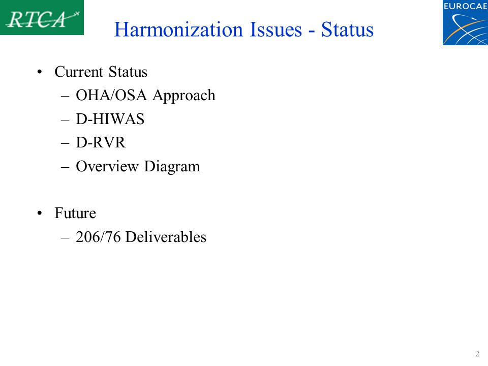 2 Harmonization Issues - Status Current Status –OHA/OSA Approach –D-HIWAS –D-RVR –Overview Diagram Future –206/76 Deliverables