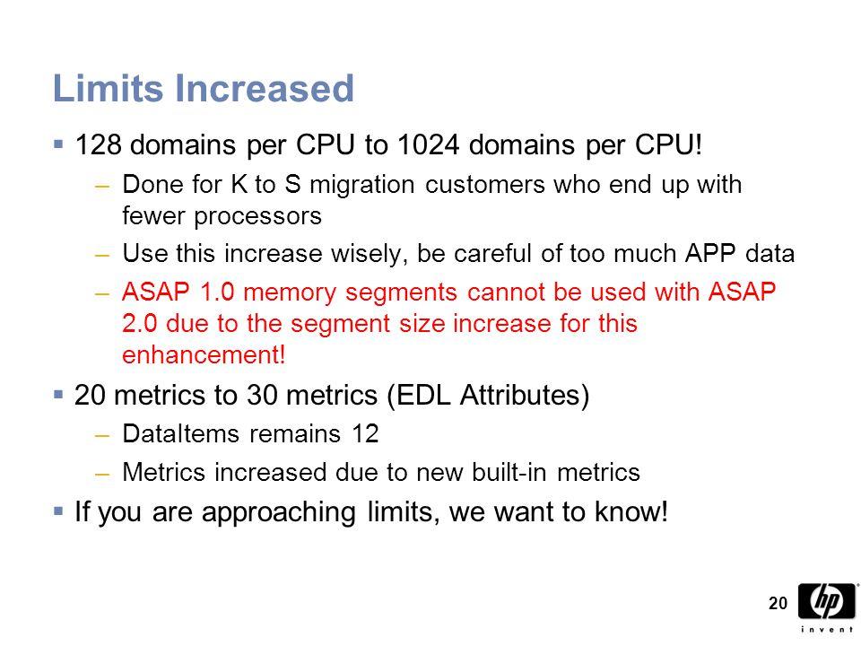 20 Limits Increased  128 domains per CPU to 1024 domains per CPU.