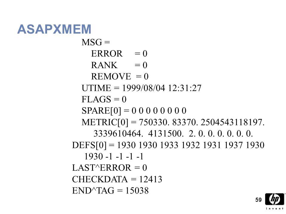 59 ASAPXMEM MSG = ERROR = 0 RANK = 0 REMOVE = 0 UTIME = 1999/08/04 12:31:27 FLAGS = 0 SPARE[0] = 0 0 0 0 0 0 0 0 METRIC[0] = 750330.