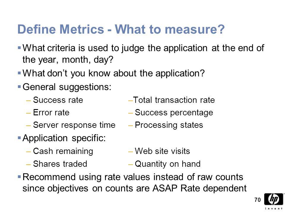 70 Define Metrics - What to measure.