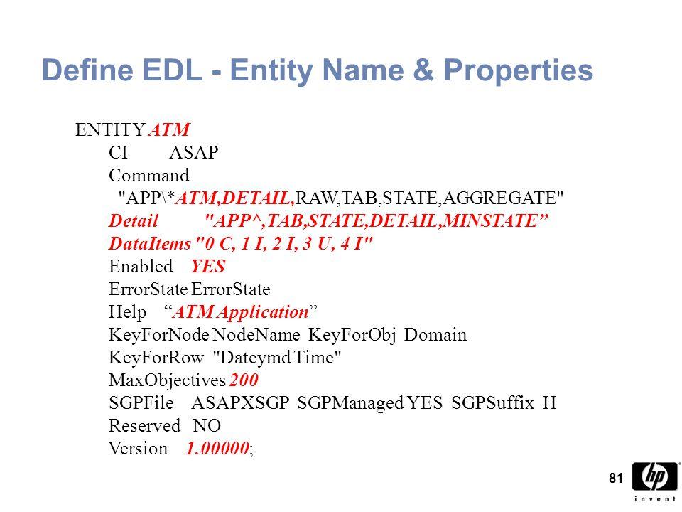 81 Define EDL - Entity Name & Properties ENTITY ATM CI ASAP Command APP\*ATM,DETAIL,RAW,TAB,STATE,AGGREGATE Detail APP^,TAB,STATE,DETAIL,MINSTATE DataItems 0 C, 1 I, 2 I, 3 U, 4 I Enabled YES ErrorState ErrorState Help ATM Application KeyForNode NodeName KeyForObj Domain KeyForRow Dateymd Time MaxObjectives 200 SGPFile ASAPXSGP SGPManaged YES SGPSuffix H Reserved NO Version 1.00000;