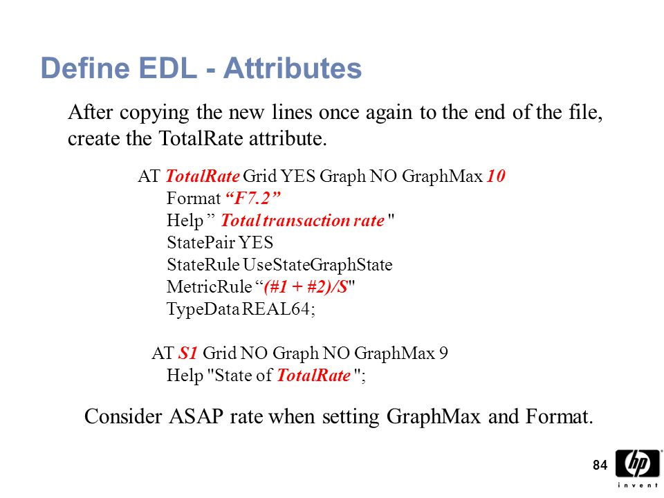 84 After copying the new lines once again to the end of the file, create the TotalRate attribute.
